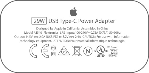 29W USB-C Power Adapter Spec