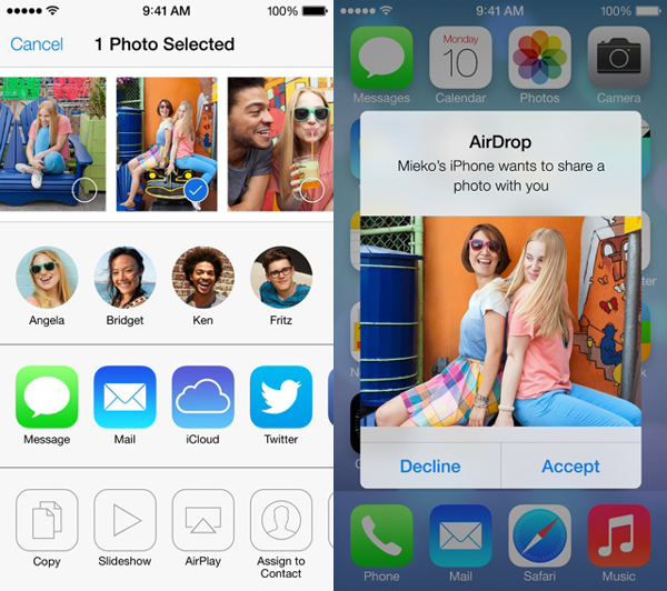 AirDrop between iOS devices