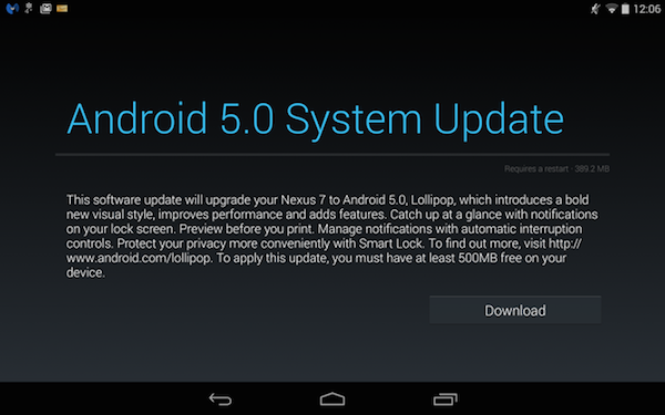 Android 5.0 System Update