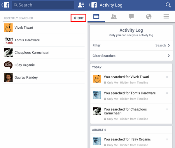How to Delete Facebook Search History from Android