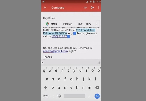 Android O Smart Text Selection