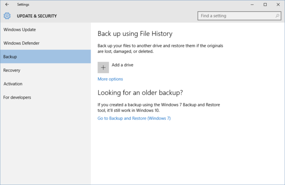 Back up Using File History