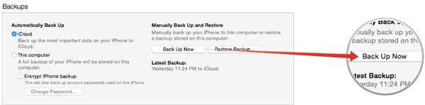 Backup iPhone with iTunes 12
