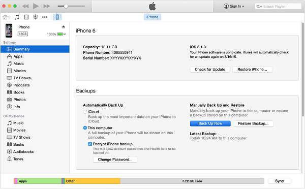 Backup iPhone to iTunes 12