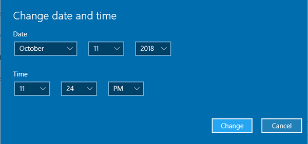 Change Date and Time Windows