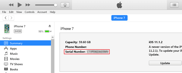 Check Serial Number via iTunes