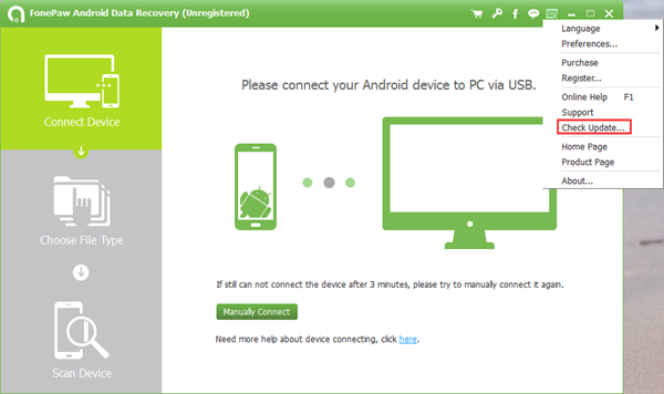 Update FonePaw Android Data Recovery