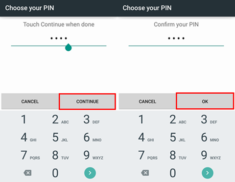 Set up Pin for Smartphone