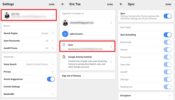 Ensure Synce Settings in Chrome App