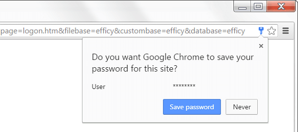 Chrome Saving Passwords Issue