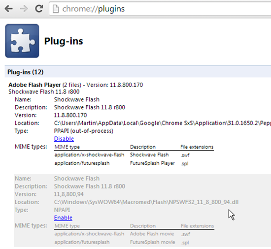Disable Chrome Plug-ins