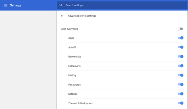 Synce Chrome Settings