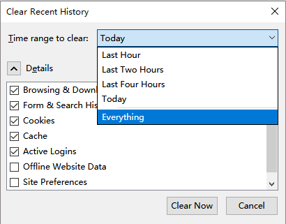 Clear Recent History