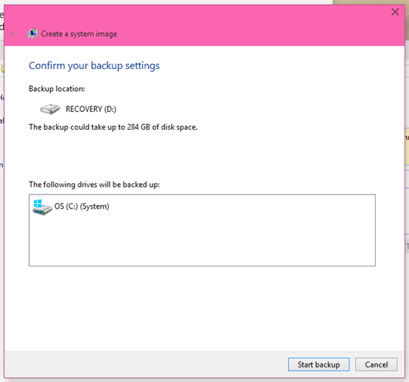 Confirm to Create System Backup Image