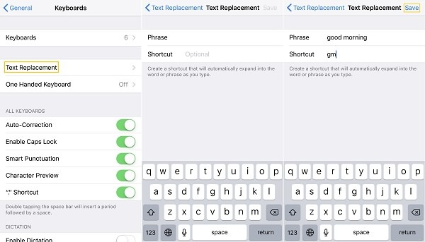 Create iPhone Keyboard Shortcuts