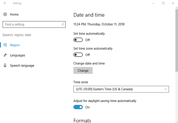 Date and Time Settings on Windows 10