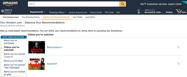 Delete Amazon Prime Video Watch History