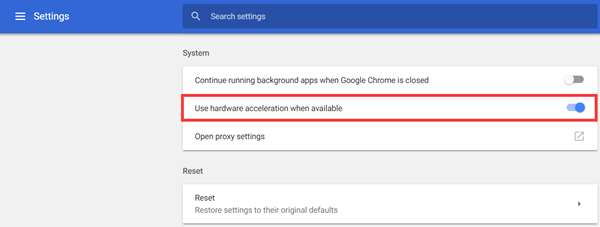 Disable Chrome Hardware Acceleration