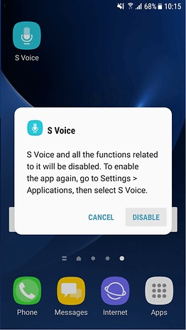Disable S Voice