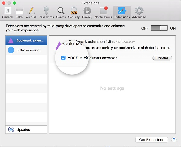 Disable Safari Extension