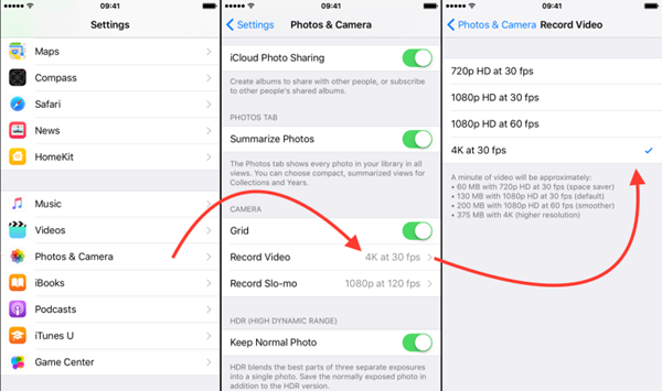 Enable 4K Video on iPhone