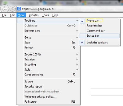 Enable Menu Bar Internet Explorer 11