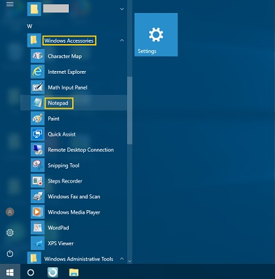 Find Notepad in Start Menu