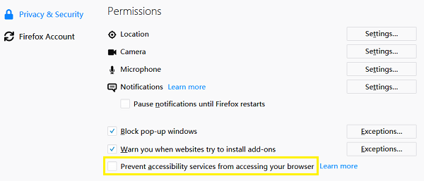 Firefox Prevent Accessibility Service