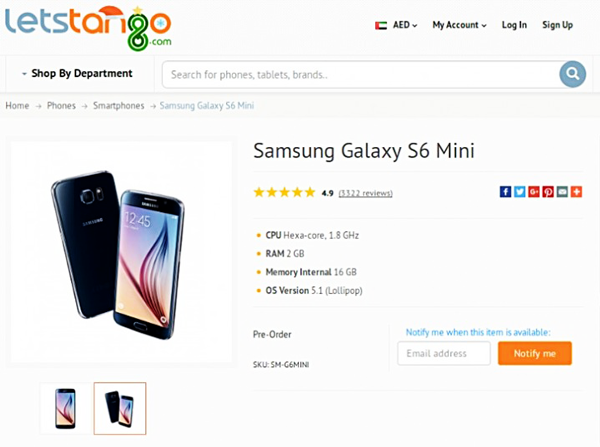 Galaxy S6 mini Listed
