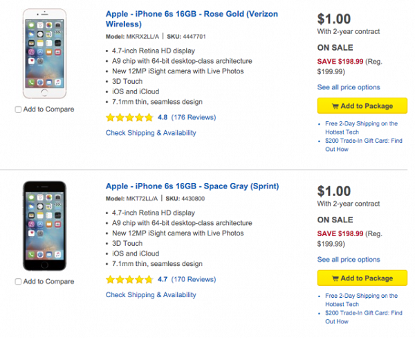 iPhone 6s Available for Just $1 at Best Buy