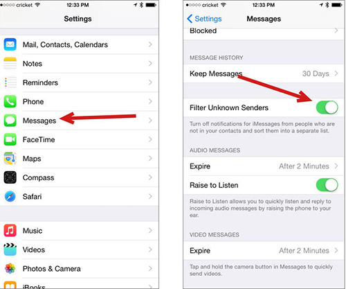 Enable iMessages Filter