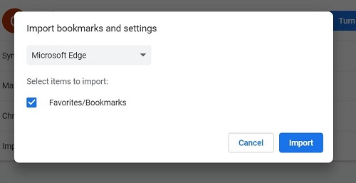 Import Bookmarks from Edge to Chrome