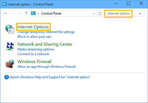 Internet Options on Control Panel