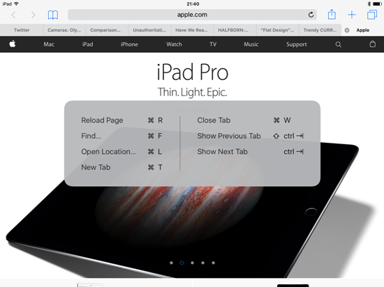 iPad Keyboard Shortcut Safari
