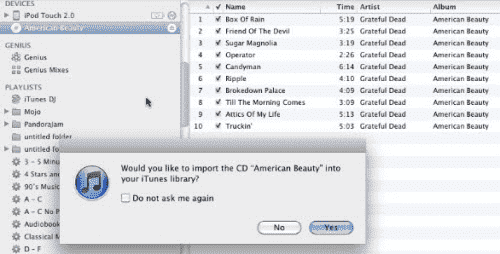 Import songs from CD into iTunes