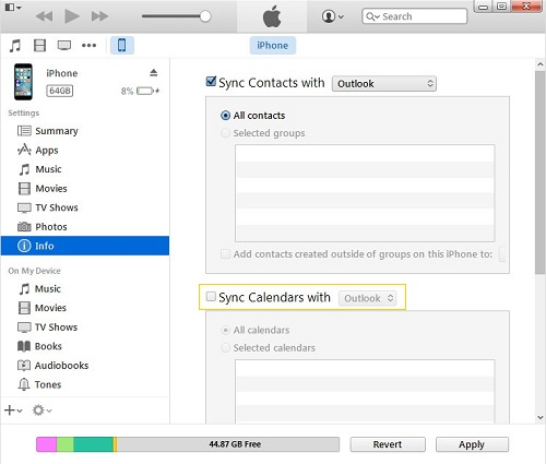 Sync Calendar to Outlook with iTunes