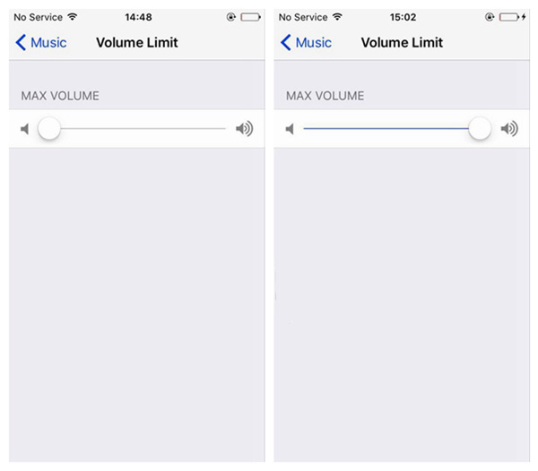 Move Slider of Volume Limit to the Right