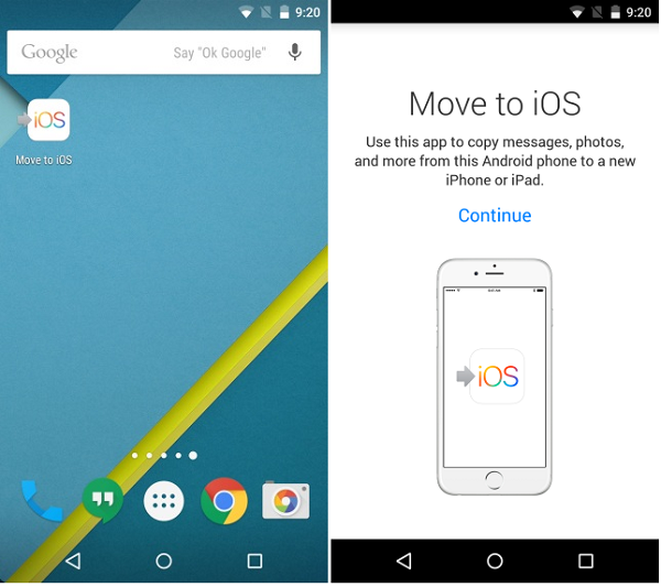 Move to iOS for Android