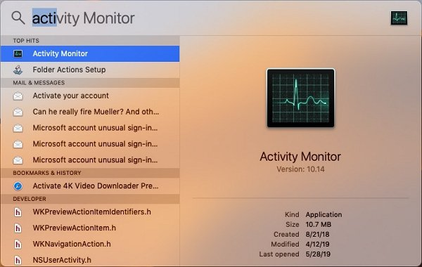Open Activity Monitor via Spotlight