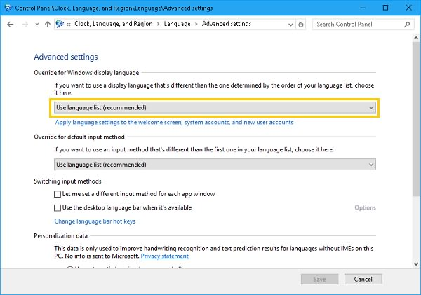 Override for Windows Display Language