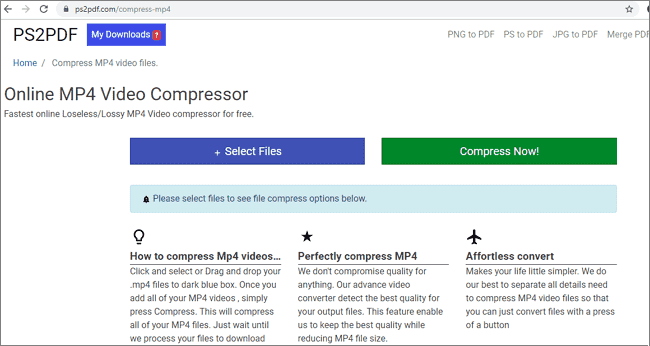 Compress MP4 Videos Online With PS2PDF