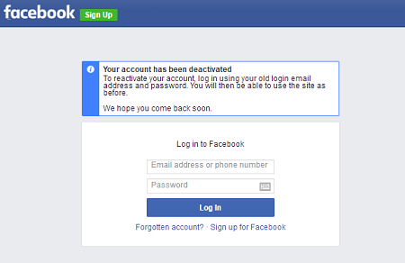 Reactivate Facebook Account