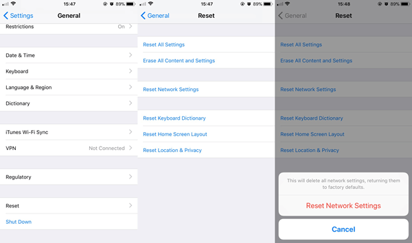 Reset Network Settings iPhone