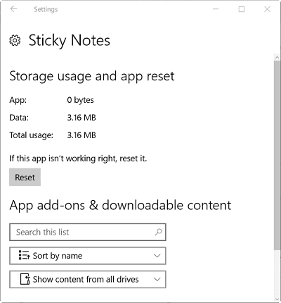 Reset Sticky Notes