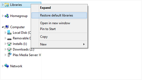 Restore Default Libraries