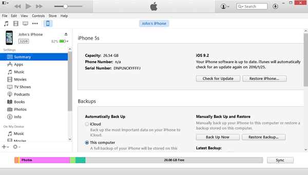 Restore iPhone via iTunes 12