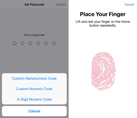Set Touch ID and Passcode