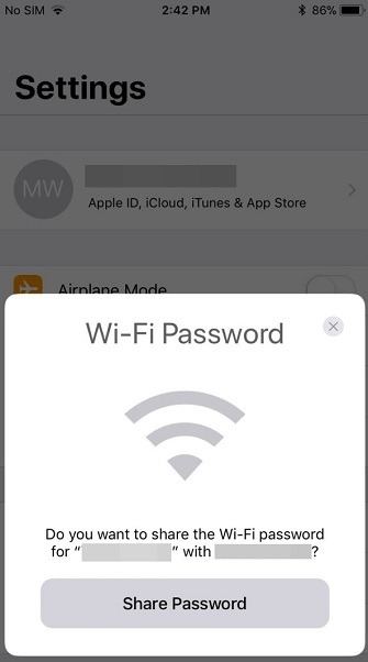 Share WiFi Password on iPhone
