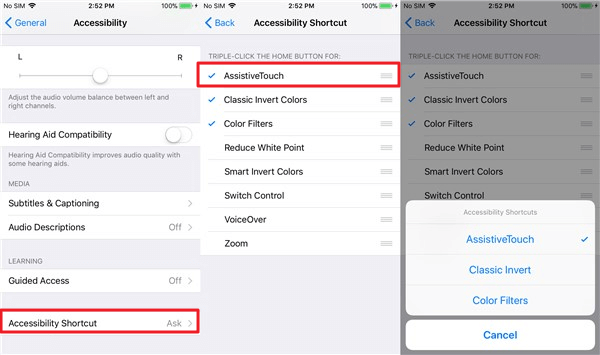 Shortcut to Enable AssistiveTouch