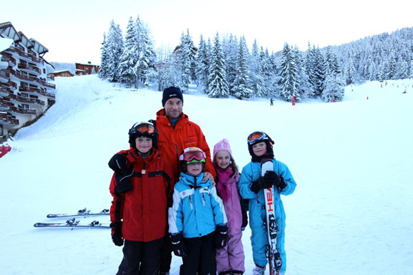 Skiing with Kids on Christmas
